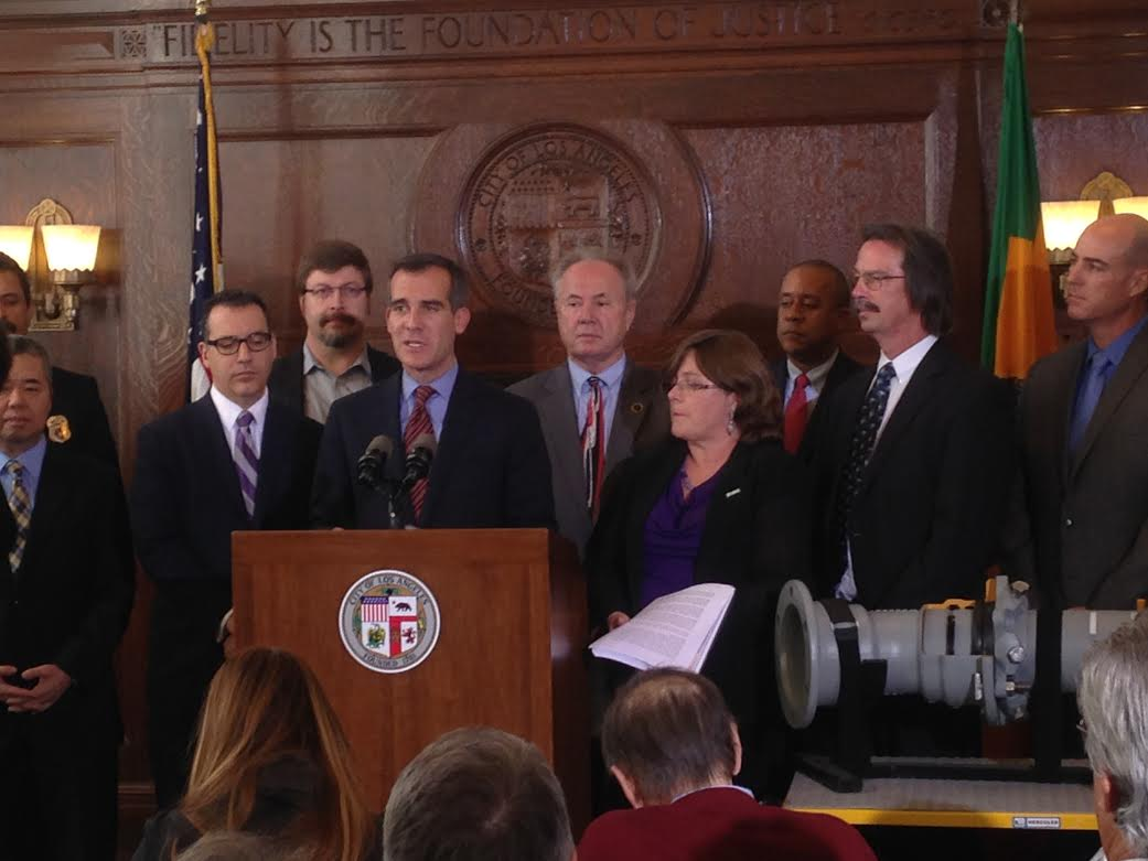 Mayor Garcetti announces his earthquake plan on Monday. SEAOSC President Kevin O'Connell on far right.