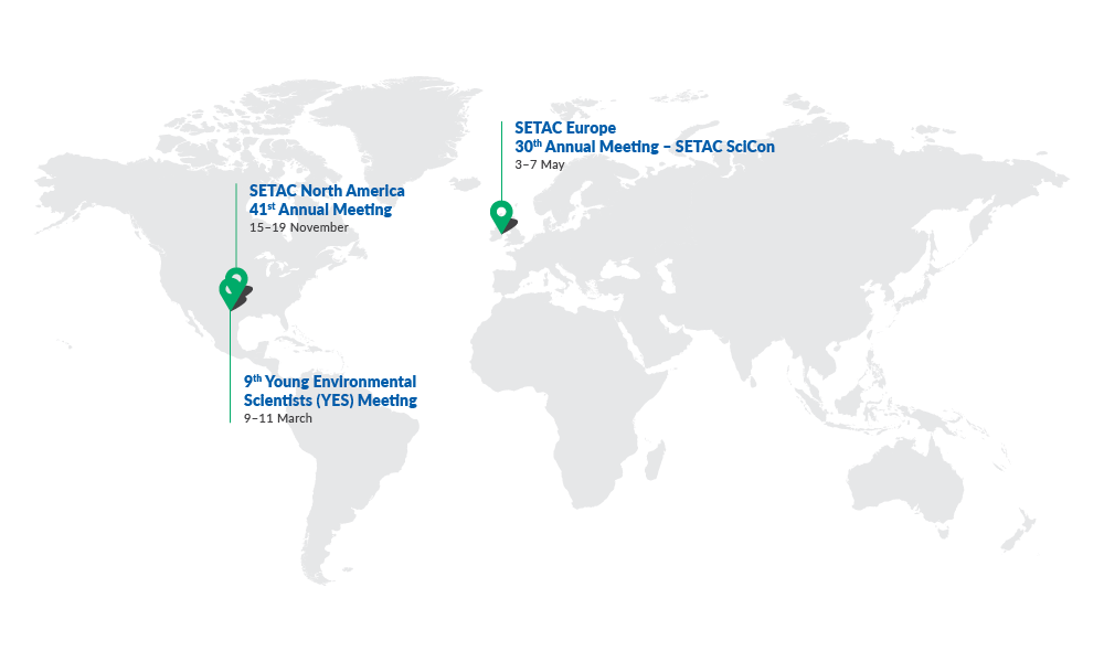 SETAC map showing 2020 meetings