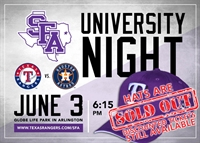 SFA University Night @ the Texas Rangers
