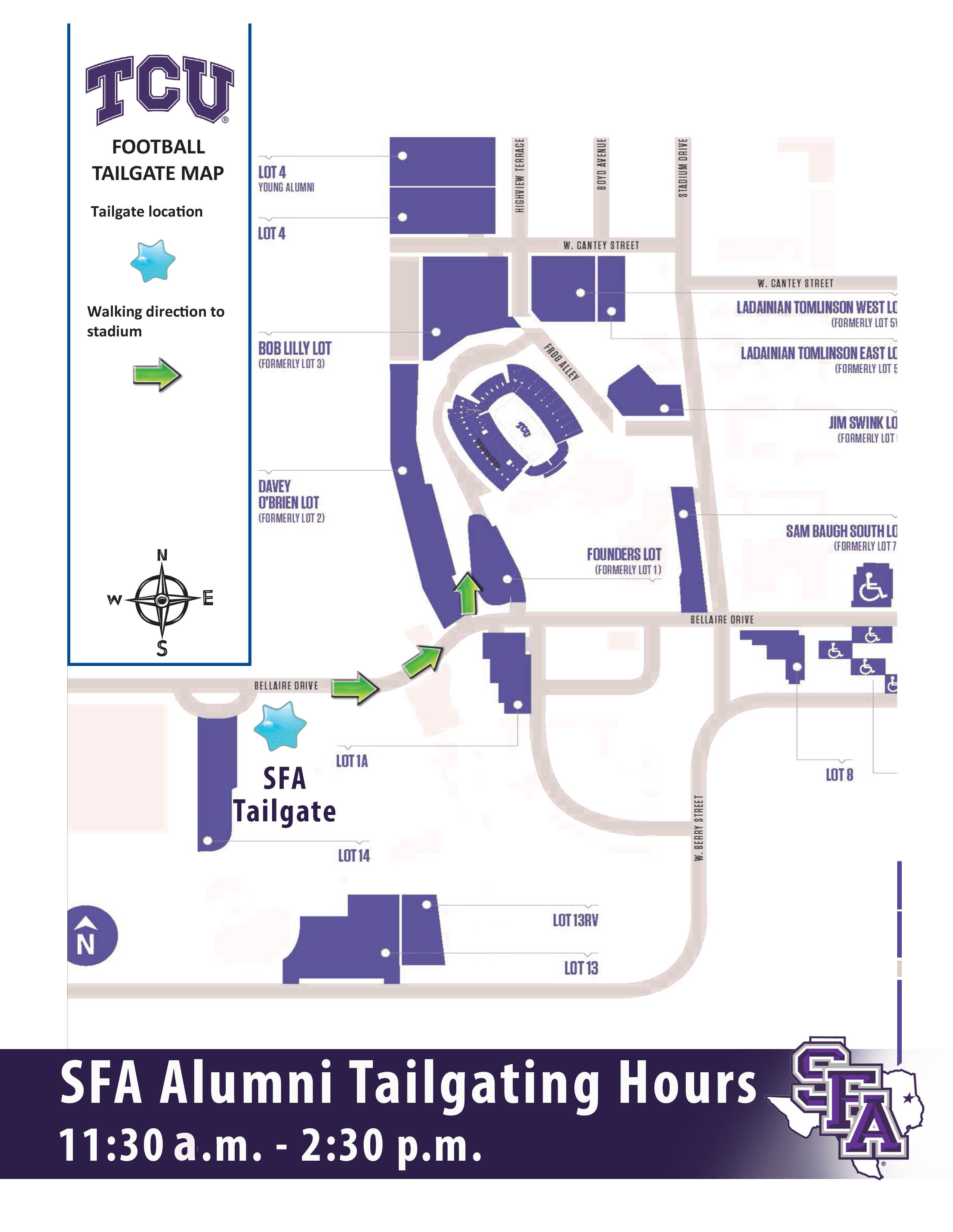 The SFA Alumni Association will be taking a van from Nacogdoches to Fort Worth. Cost is $50 (not including ticket). For more info and to book your spot, ...