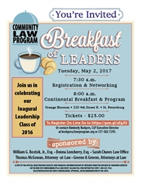 <font color=blue>The Community Law Program BREAKFAST OF LEADERS</font color= blue>
