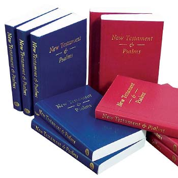 Picture of blue and red Pocket New Testaments