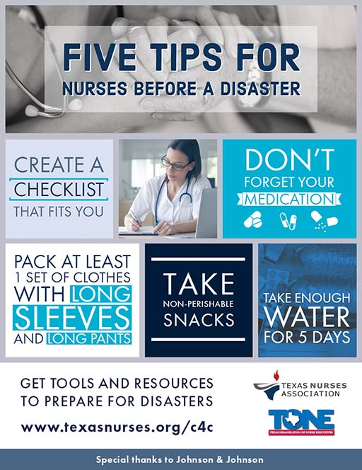 Five tips for nurses before a disaster