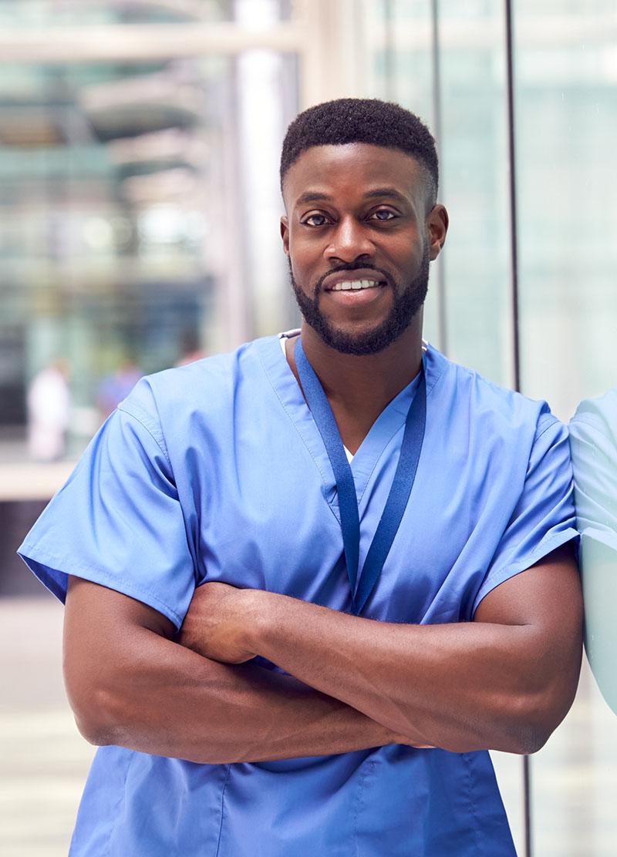 male nurse outside hospital