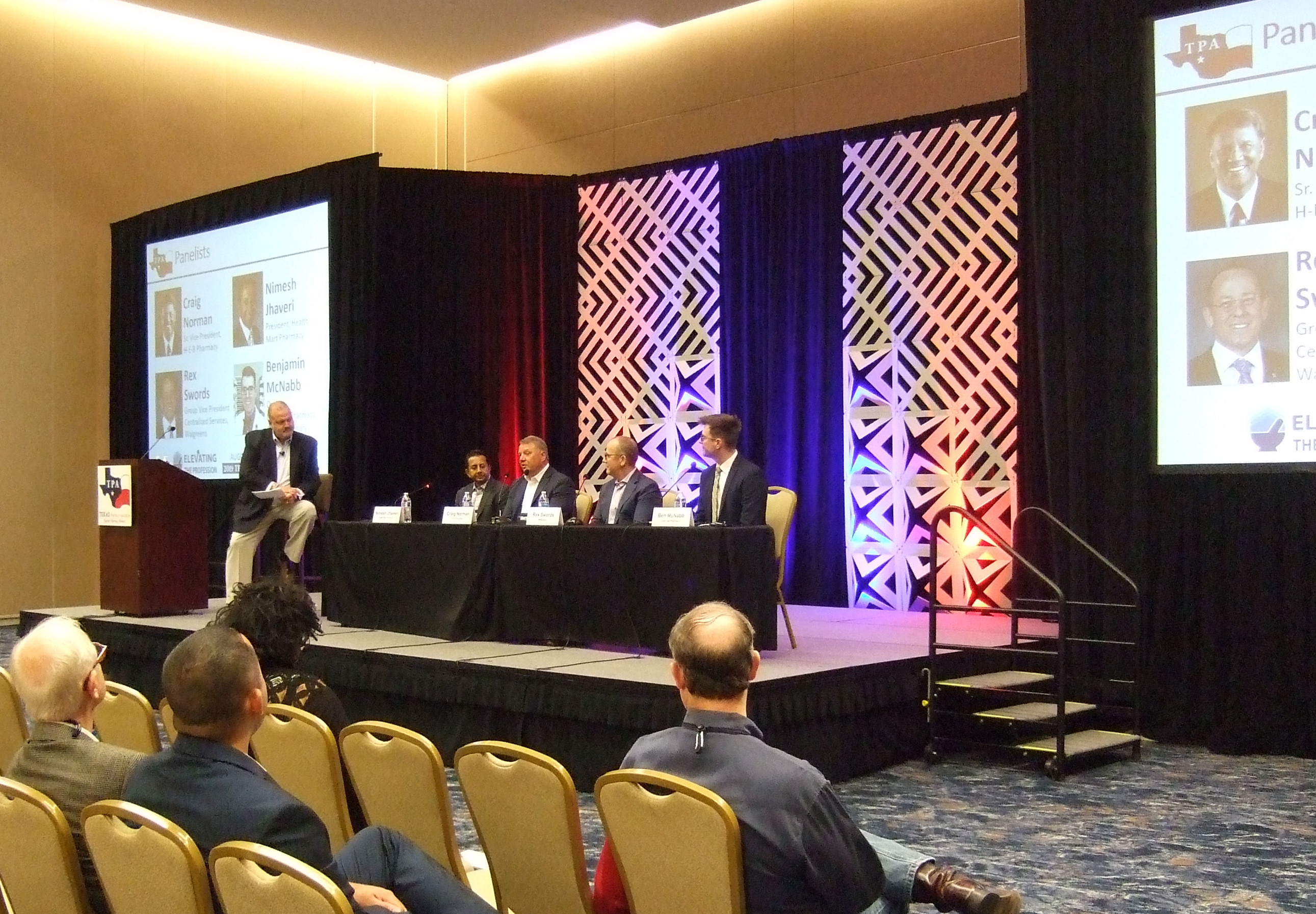 Chris Dimos leads a panel discussion at the 2019 TPA conference.