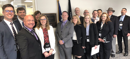 Texas pharmacists and pharmacy representatives gather outside the Washington, DC, office of Texas Senator John Cornyn during the NCPA Fly-In.