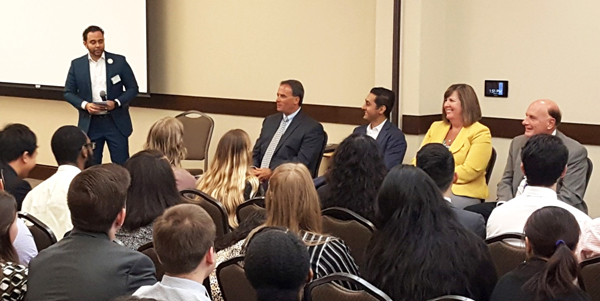 Emanuel George moderates a panel discussion of TPA pharmacists for UNT and Texas Tech pharmacy students.