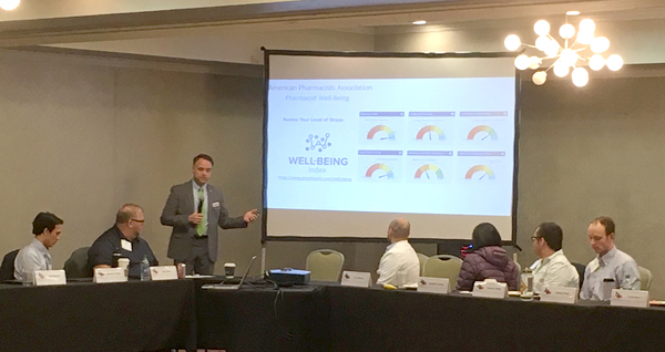 APhA President Brad Tice promotes the pharmacist Well-Being Index.