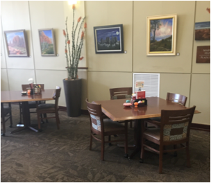 The dining room in Town Plaza Bistro features a rotating art exhibit.