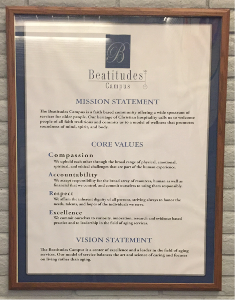 Reminders of Beatitudes Mission and Values hang throughout the campus