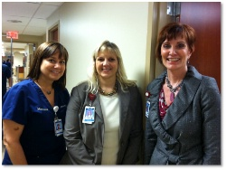 Collette, Nurse Manager, Holly Johnson, Unit Director, and CJ Merrill, AVP Service Excellence
