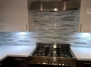 Backsplash Using Strata Platinum - Glass Mosaic Tile
