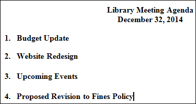 Figure 2. Unhelpful meeting agenda