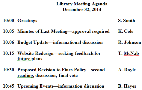 Figure 3. A helpful meeting agenda