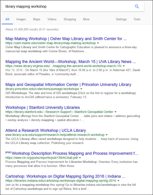 Figure 1. Web search results for