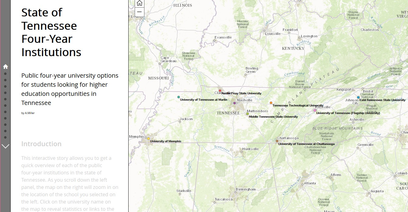 Figure 4. Story Map web mapping application.