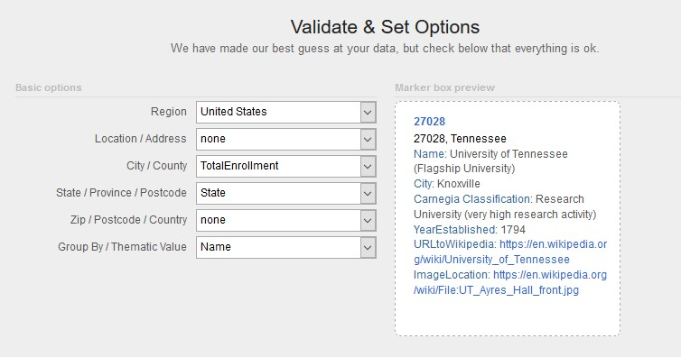 Figure 8. Snippet of BatchGeo's validation options where the author set location field for