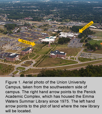 Union University's current library and the plot of land for the new library.
