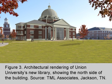 Architectural rendering of new Union University library.