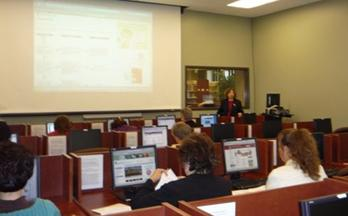 Martha Earl instructed Blue Grass Regional staff at Williamson County Public Library.