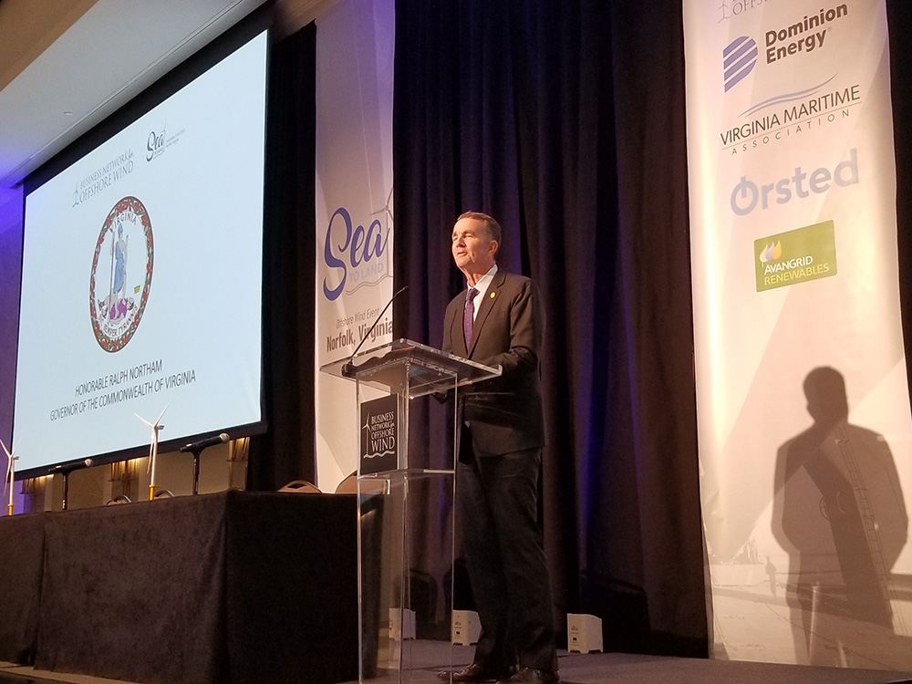 Governor Ralph Northam speaks at Sea to Land Offshore Wind Conference