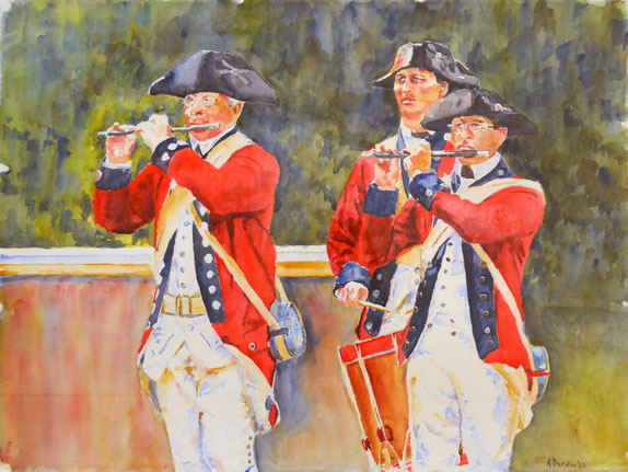 Watercolor on paper image Revolutionaries - Fife and Drums - 2009 - Kathy Durdin - William and Mary 1977 - The Presidents Collection of Art at The College of William and Mary - S-2017-01