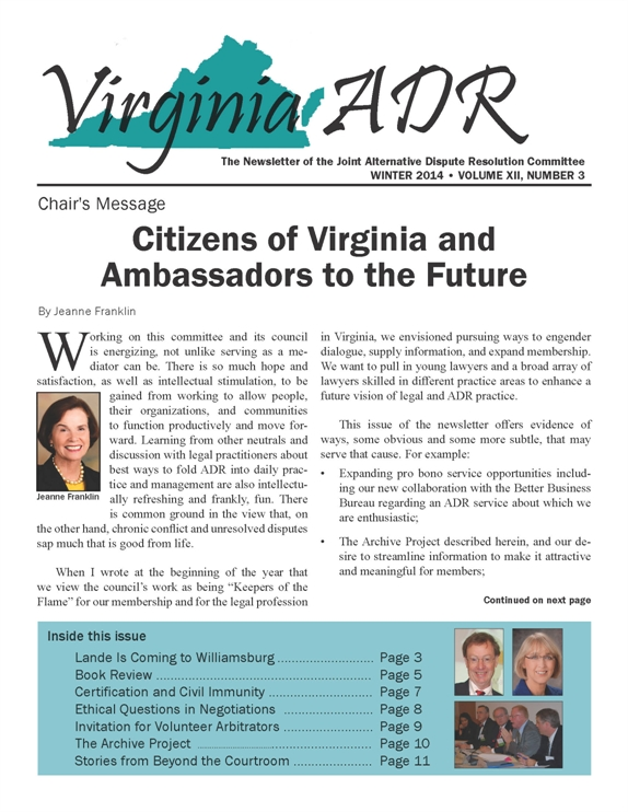 Winter 2014 Joint ADR Newsletter
