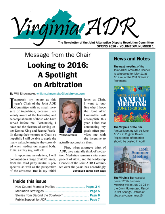 Virginia ADR Newsletter, Spring 2016