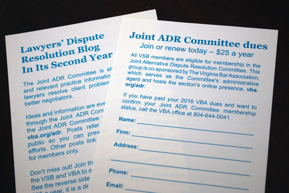 2016 VSB dues insert for Joint ADR Committee memberships