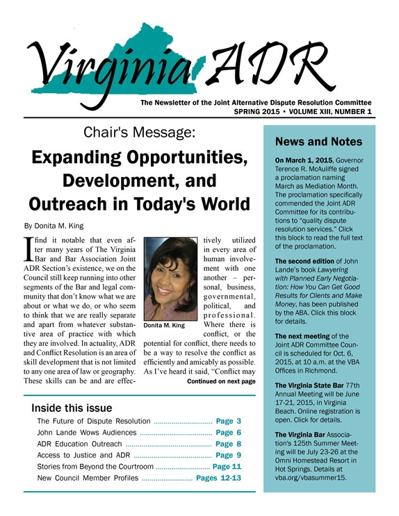 Spring 2015 Joint ADR Newsletter