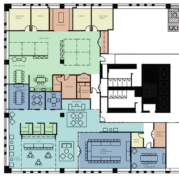 VBA office floor plan, design by SMBW