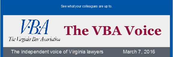 Monthly member enewsletter The VBA Voice