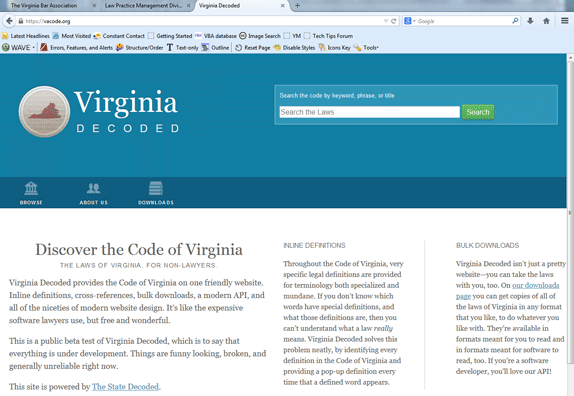 Virginia Decoded page