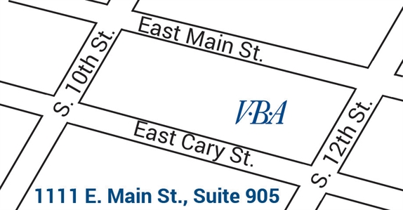 map of VBA on Main location in downtown Richmond