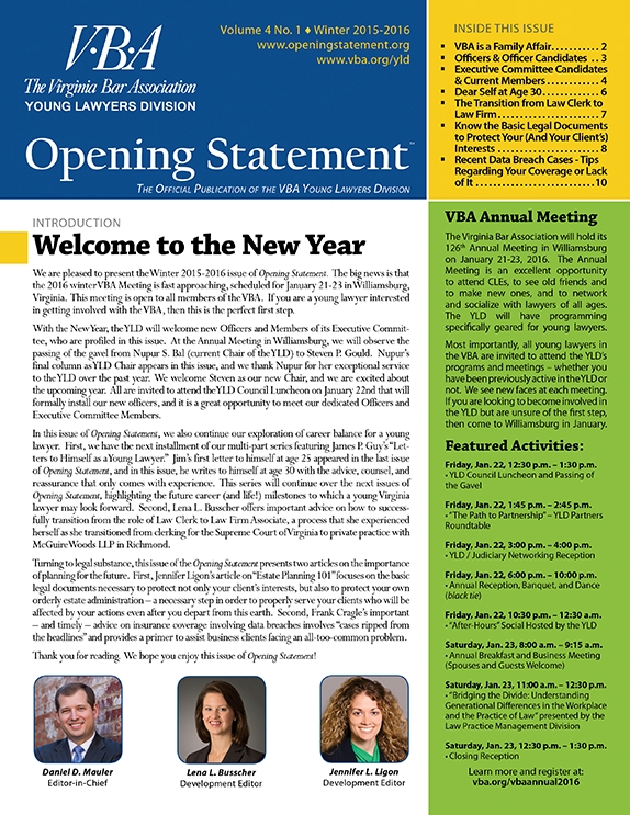 Opening Statement Vol. 4, No. 1, Winter 2015-2016