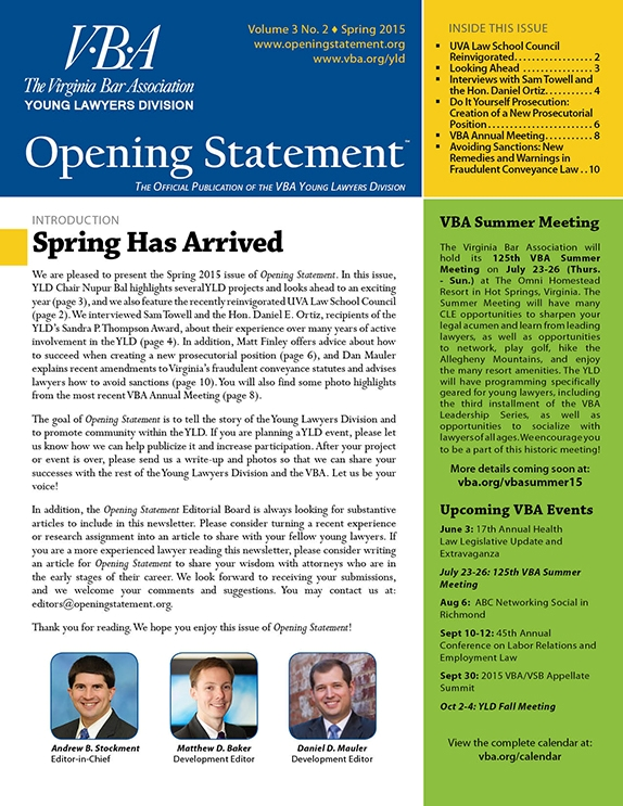 Opening Statement Vol. 3, No. 2, Spring 2015