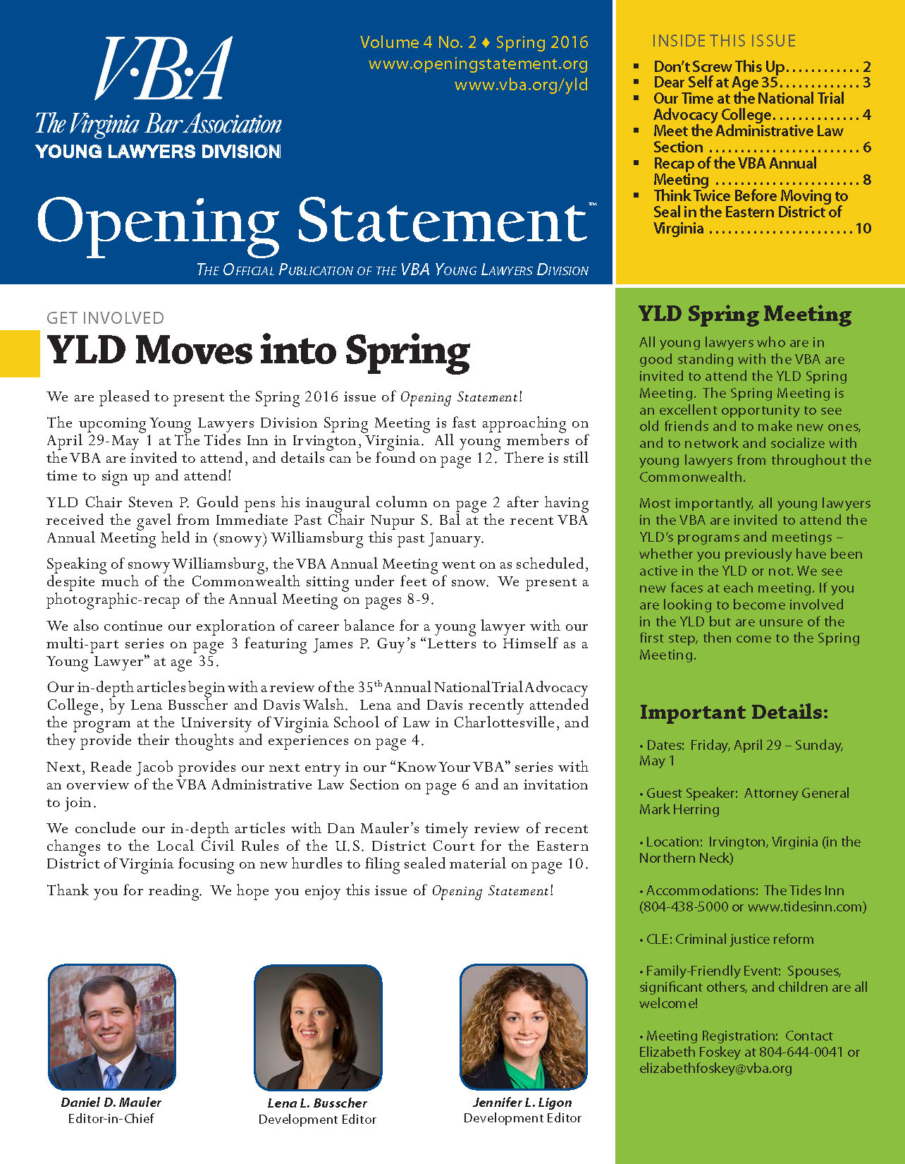 Opening Statement Vol. 4, No. 2, Spring 2016