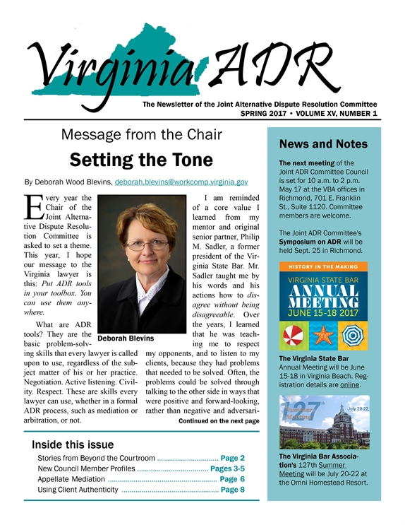 Virginia ADR Newsletter, Spring 2017