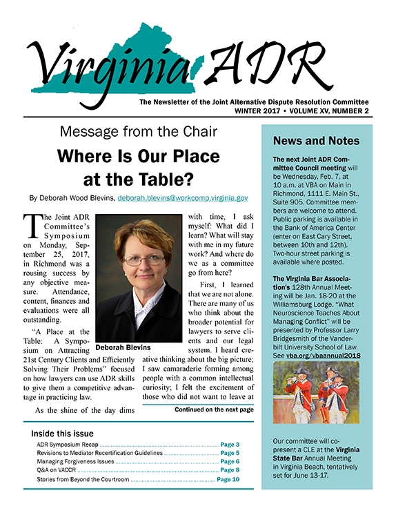 Virginia ADR Newsletter, Winter 2017
