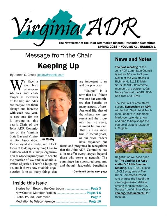 Virginia ADR Newsletter, Spring 2018