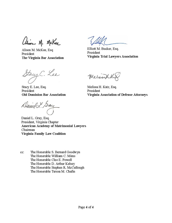 Signatories to the May 5, 2020, letter to the Supreme Court of Virginia