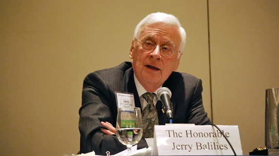 Former Gov. Baliles as a 2012 panelist on a VBA discussion of the Virginia Constitution at age 40
