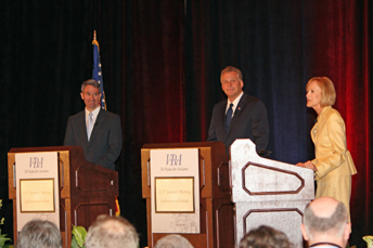 Candidates and moderator at VBA-sponsored gubernatorial debate 7-20-2013