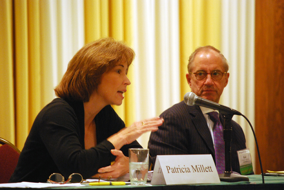 Attorney Patricia Millett addresses a point while Furman University President Rodney A. Smolla looks on at a general session on the 2010 U.S. Supreme Court term at the VBA Summer Meeting in July 2011.
