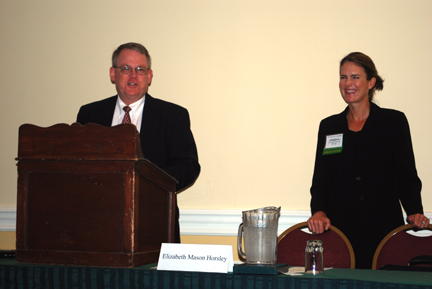 J. Lee E. Osborne introduces speaker Elizabeth Horsley, co-chair of the fiduciary litigation team at Williams Mullen in Richmond, at the VBA Summer Meeting