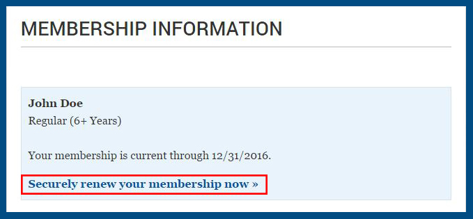 Where to find Securely renew your membership now
