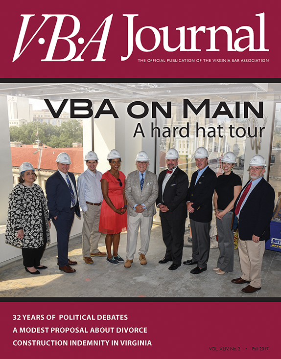 Fall 2017 VBA Journal hard hat tour cover