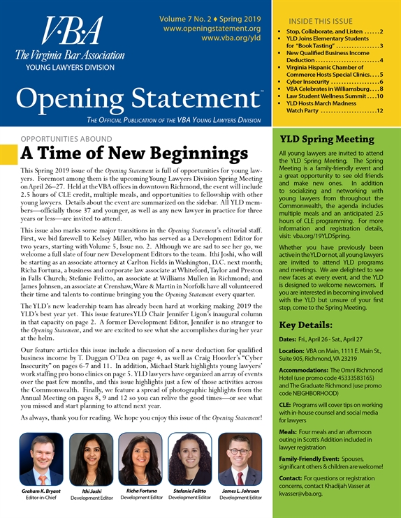 Opening Statement Vol. 7, No. 2, Spring 2019
