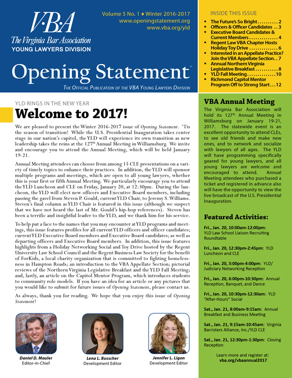 Opening Statement Vol. 5, No. 1, Winter 2016-2017