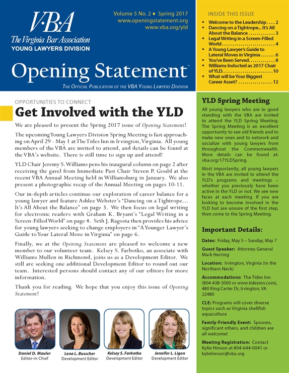 Opening Statement Vol. 5, No. 2, Spring 2017